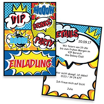 Einladungskarten Zum Geburtstag Comic   10 Stück   Inkl. Druck Ihrer Texte    Kindergeburtstag   Individuelle Einladungen   Einladung   Einladungskarte  ...