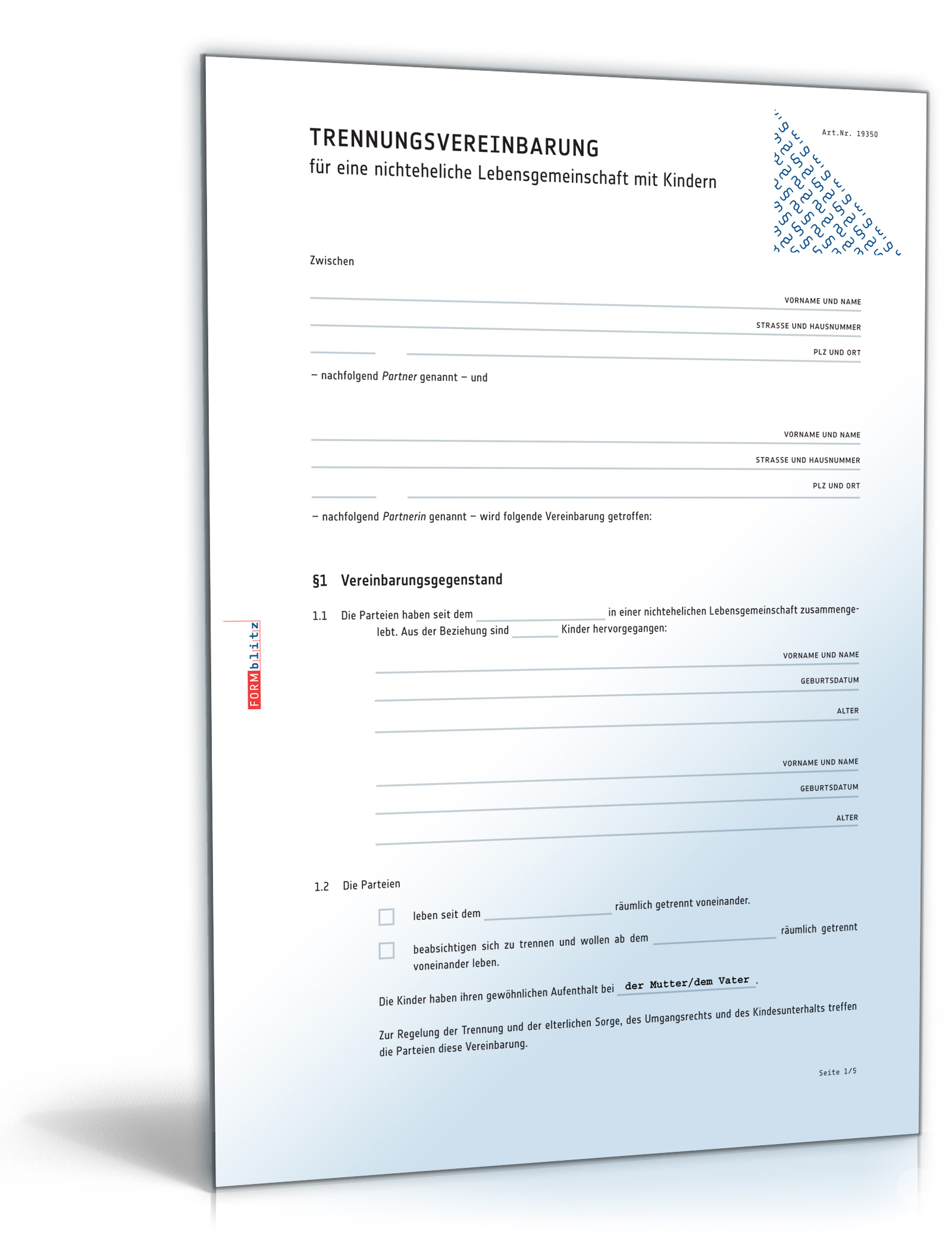 Trennungsvereinbarung mit Kindern [PDF Download] [Download]