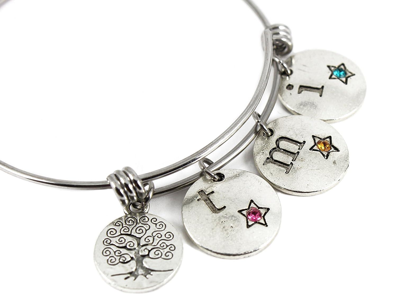 Custom Name//birthstone Family tree charm Stainless Steel bangle mom//grandma gift