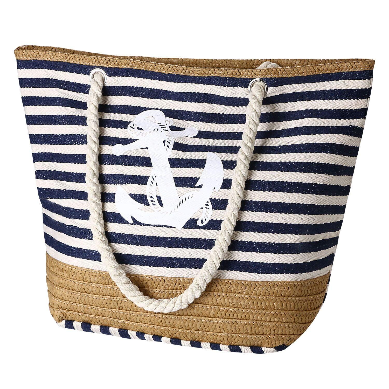 flintronic® Bolsa de Playa para Mujer, Totalizador de Lona de Verano, Bolso Grande con Asa de Cuerda para Playa, día de Fiesta, Compras, Viajes Diseño del Patrón de Anclaje