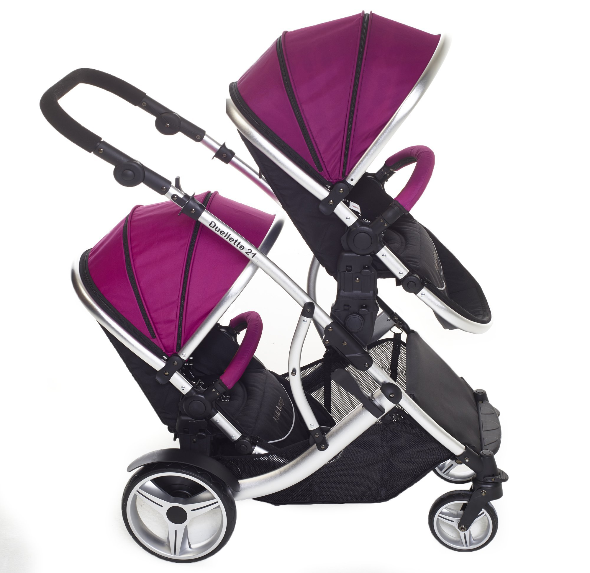 Duellette 21 BS Twin Double Pushchair Stroller Buggy (Raspberry) Brand New Colour Range! Kids Kargo Suitability Newborn Twins (if used with car seats) or Newborn/toddler. Various seat positions. Both seats can face mum (ideal for twins) Accommodates 1 or 2 car seats 4