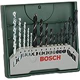 Bosch Home and Garden Bosch 2607019675 X-Line Set Mini, 15 Punte, Metallo Legno Muro, Green, Set di 15 Pezzi