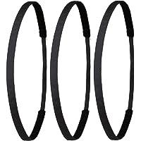 Ivybands Das Anti-Rutsch Haarband - Gentlemens Edition - 3er Pack Schwarz Super Thin Haarband (1 cm Breite) 3X IVY003