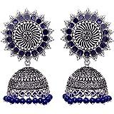 V L IMPEX Sun Shape Lightweight Meena Work Silver Plating Oxidised Jhumki Jhumka Earring For Women