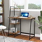 Bureau d'ordinateur avec 4 étagères de rangement – Table d'étude avec bibliothèque moderne en bois pour les petits espaces, b