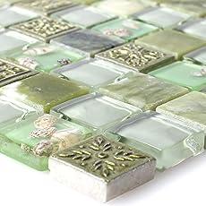 Glasmosaik Natursteinfliesen Tatvan Muschel Grün   Wandfliesen   Mosaik Fliesen    Glas Mosaik  