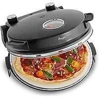 Four à Pizza électrique Peppo, 1200W, pour des pizzas comme au four en pierre à 350°C, avec minuterie et voyant y deux…