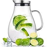 susteas Carafe en Verre de 2 litres avec Couvercle et Bec verseur, Carafe d'eau, pichet à thé glacé, pour Boisson Maison/thé