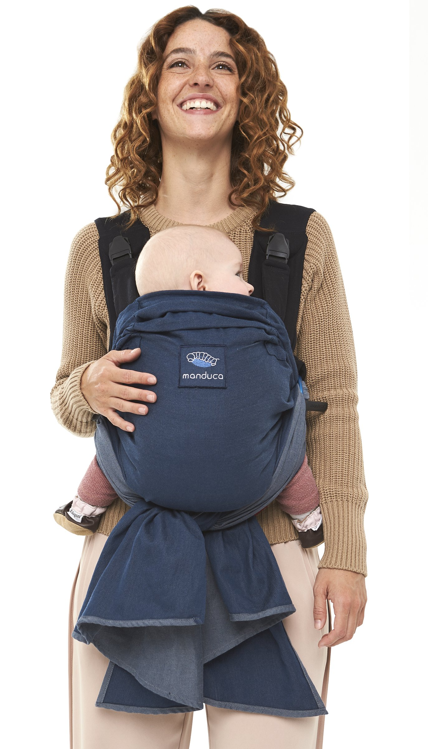 manduca Duo - Hybrid of Baby Carrier and Sling, Innovative Click &Tie System, Baby Slip-Through-Protection, Removable Hip Belt, Organic Cotton and Mesh, from Birth to 15kg (Blue) Manduca Optimized as front carrier, with slip-through protection (secure fit for your baby), supports the M position, for newborns from birth to infants up to 15 kg Especially popular with first-time parents who find it difficult to choose between a sling and a comfort carrier with buckles. Easy to use, illustrated instructions Detachable hip belt, which is only zipped on when needed (up to 140cm circumference without belt extension). Ideal for mothers with sensitive belly and after cesarean section, good weight distribution, comfortable on the shoulders. 1