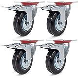 4 stuks transportwielen, zwenkwielen, 75 mm, zware wielen met rem, meubelwielen, apparaatwielen, verzinkt plaatstaal, zwart,