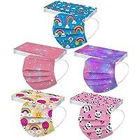 50 Pezzi Mascherine_Bambini Protezione per Il Viso USA e Getta 3 Strati Cartoni Stampa Farfalla Animati Arcobaleno…