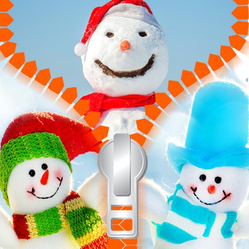 Snowman Zipper Lock Screen -