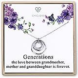 CHICLOVE Collana di Generazioni - 3 Generazioni, 3 Cerchi circolari Collana di Nonna Cerchi ad Incastro, Regalo di Natale per