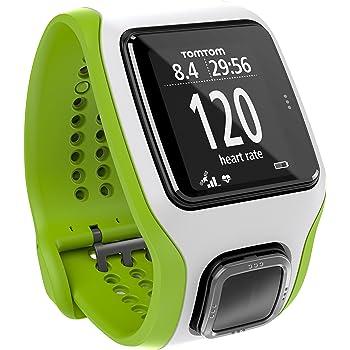 TomTom Runner Cardio - Reloj con GPS para correr, color Blanco y verde, Talla