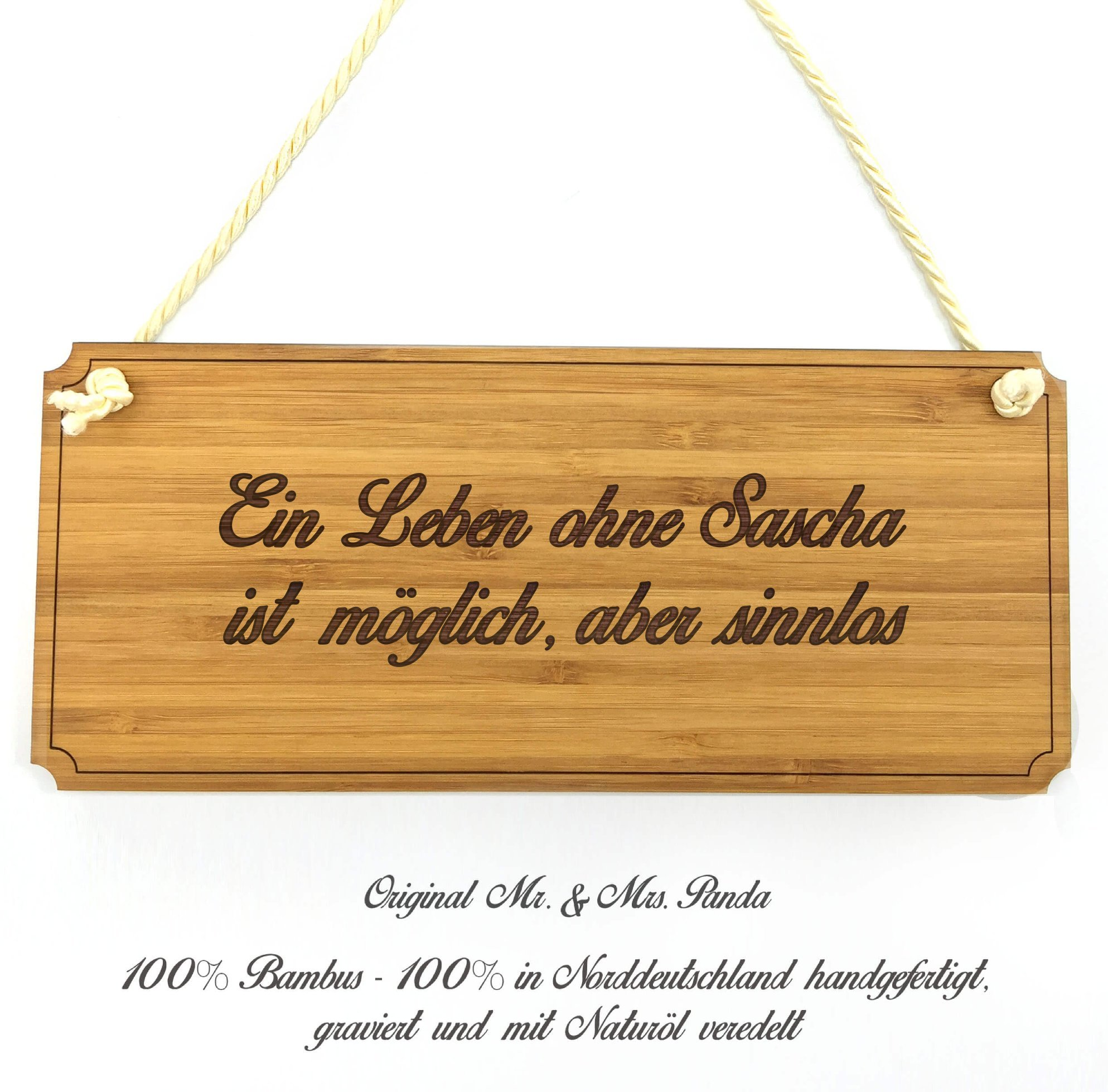 Mr. & Mrs. Panda Türschild Sascha Classic Schild - 100% handgefertigt aus Bambus Holz - Anhänger, Geschenk, Vorname, Name, Initialien, Graviert, Gravur, Schlüsselbund, handmade, exklusiv 5