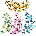 XUBX 48 stuks 3D Mode Vlinder Muursticker, Dubbele laag Simulatie Kleurrijke Vlinder Muurschildering Stickers met Zelfklevend