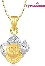 Meenaz Hanuman Bajrangi God Pendant & Locket Gold Plated Cz in American Diamond for Men & Women Girls GP195
