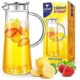 CNNIK 1,5 l glasvattenkanna med lock, borosilikatglas karaff kanna för varm kall is te juice dryck mjölk kaffe vin, diskmaski
