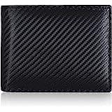 Amazon Brand - Eono Geldbörse aus Leder für Damen und Herren–Flaches Design mit RFID Ausleseschutz-Funktion (Schwarz Carbon)