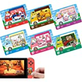 6pcs Collaborazione Pack per Animali Crossing New Horizons ACNH Amiibo Sanrio Mini Card, RV Villager Mobili Compatibile con I