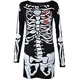 Womens Ladies Halloween Skeleton Skull Bone Red Blood Heart Girls Bodycon Costume Novelty Party Dress Tunic, Black Skeleton,