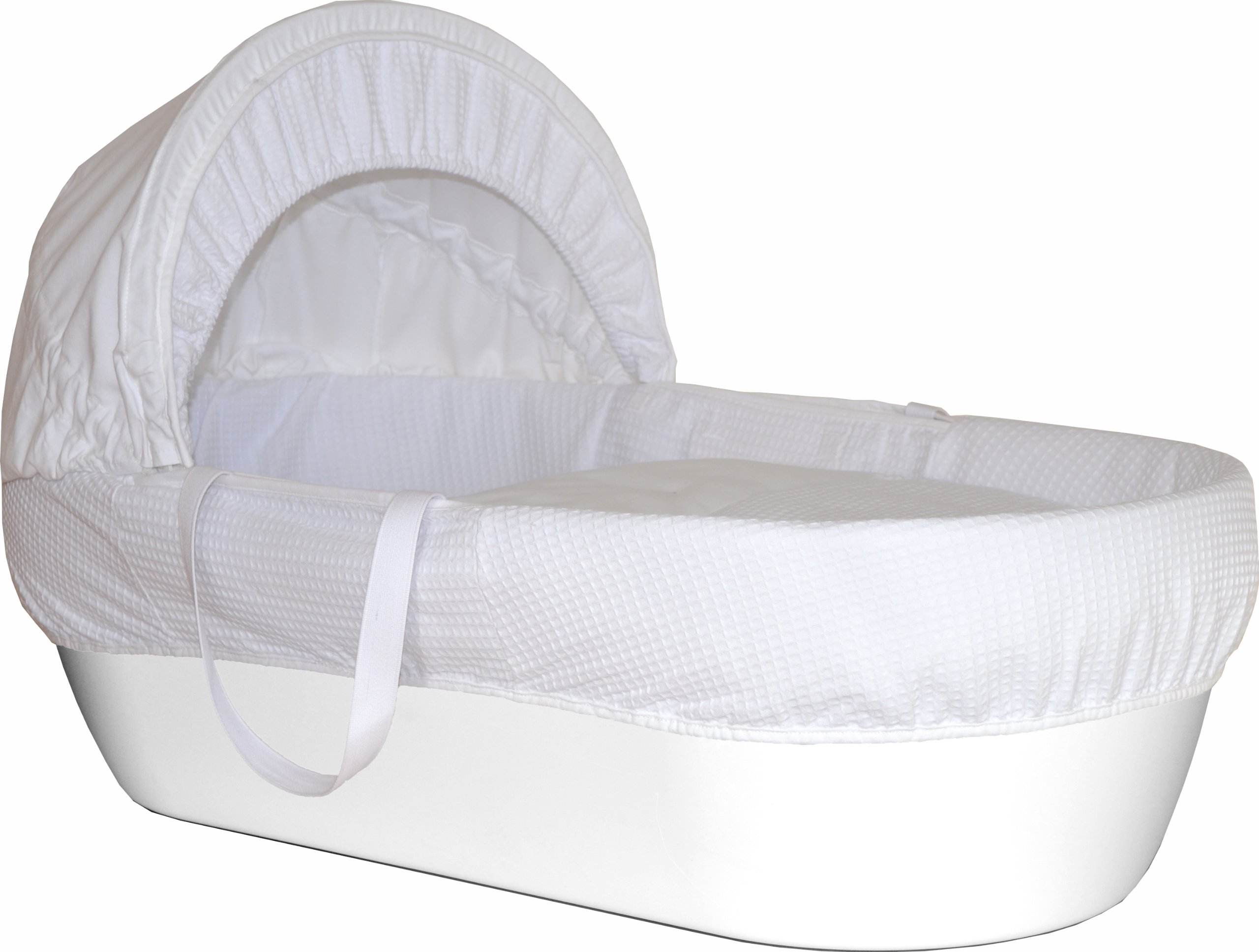 Shnuggle Moses Basket with White Waffle Cotton Dressing, Hood and Mattress - White Basket  Shnuggle Classic Moses Basket with stay up hood Hypoallergenic and easy to clean Super strong and long lasting 1
