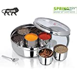 SPRINGWAY - Brand of Happiness Masala Dabba Stainless Steel, See Through Lid with 7 Containers, and Small Spoon (18.5cm…