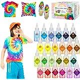 175 stks Tie Dye Kit, Emooqi 24 levendige kleuren stof textiel verf met stropdas kleurstof poeder, knijp flessen, rubberen ba