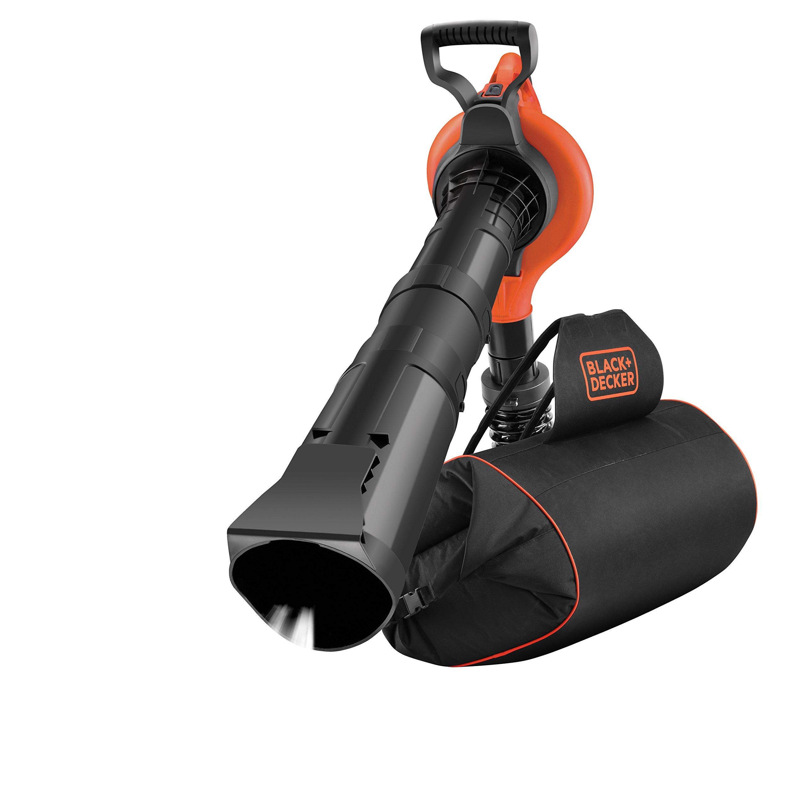 Black+Decker GW3031BP Elektro-Laubsauger/Bläser/Häcksler, 72l Fangsack-Rucksack, Laubrechen + Tragegurt