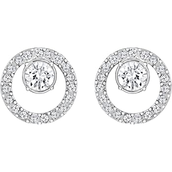 d835ae370 Swarovski Women's Rhodium Plating and White Crystal Creativity Circle  Pierced Earrings
