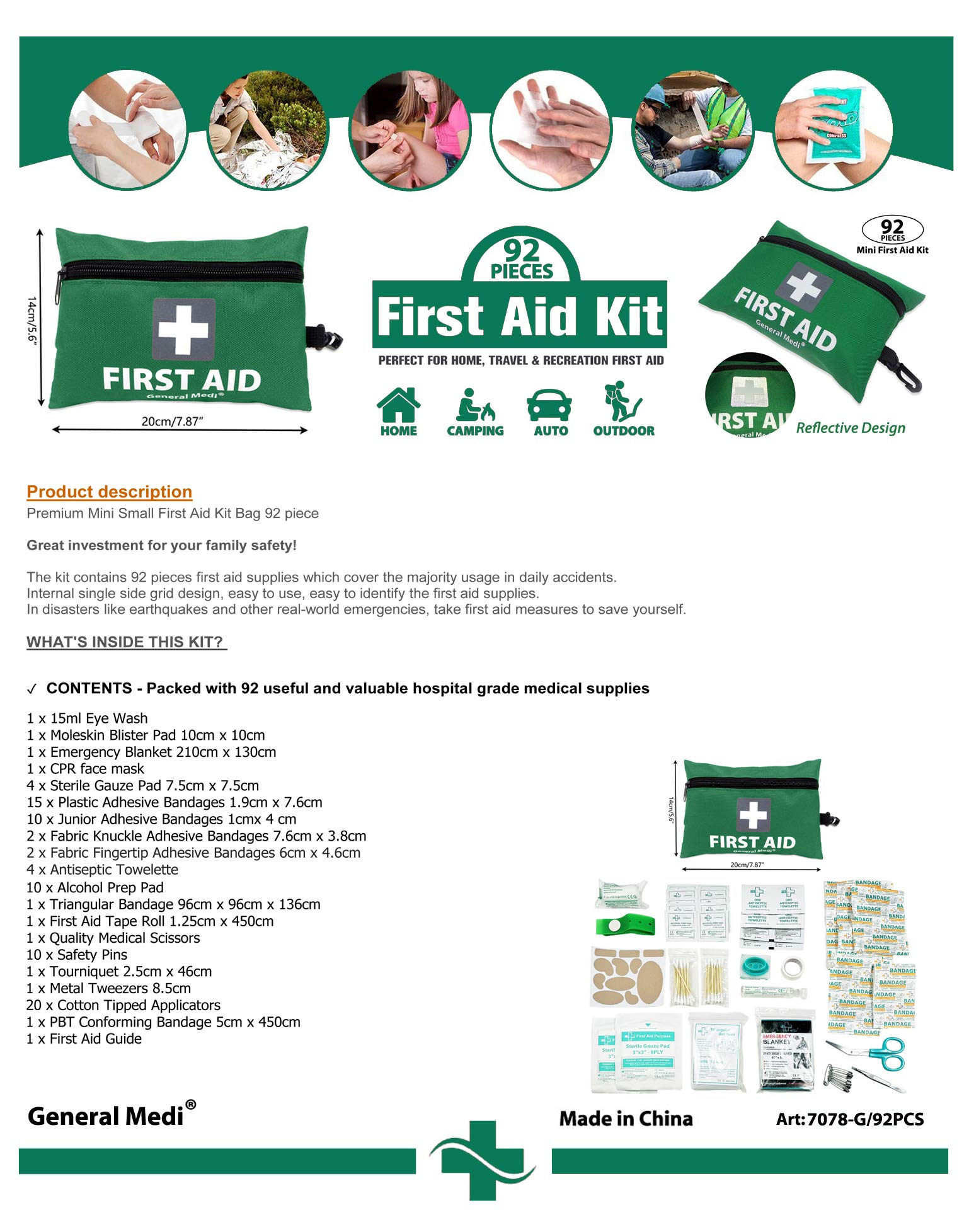 Mini First Aid Kit,92 Pieces Small First Aid Kit - Includes Emergency Foil Blanket, CPR Respirator,Scissors for Travel, Home, Office, Vehicle,Camping, Workplace & Outdoor (Green) 8