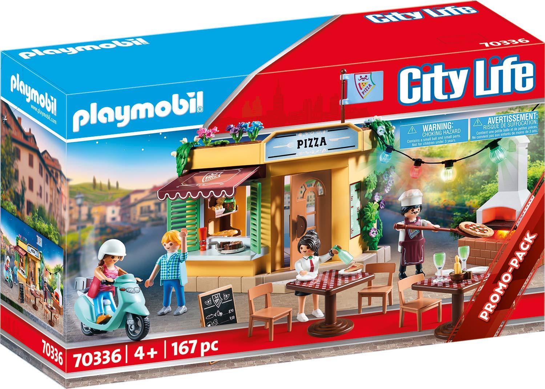 Playmobil City Life 70336 - Pizzeria con Tavoli all'Aperto con Effetti Luminosi, dai 4 anni 1 spesavip