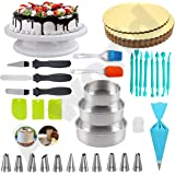 A-ONE Cake Making Supplies Cake Turntable, Cake Mould, Nozzle Set & Spatula, Brush and Pallet Knife & Scraper for Cake Board