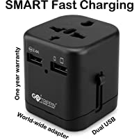 GoTrippin Premium Universal Travel Adapter with Dual USB Charger Ports and Smart Charging (Black), International Worldwide Charger Plug for Phone, Laptop, Camera, Tablet