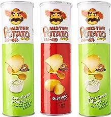 Mister Potato Crisps, Pack Of 3, 390g [Sour Cream & Onion - 2Pc and Original - 1Pc]