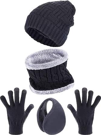 Cappello Lavorato a Maglia per Bambini Ragazzi Ragazze Cappuccio con Paraorecchie Invernale Guanti Caldi e Scaldacollo SATINIOR Set di Sciarpa Guanti Cappello per Bambini da Inverno Antivento M