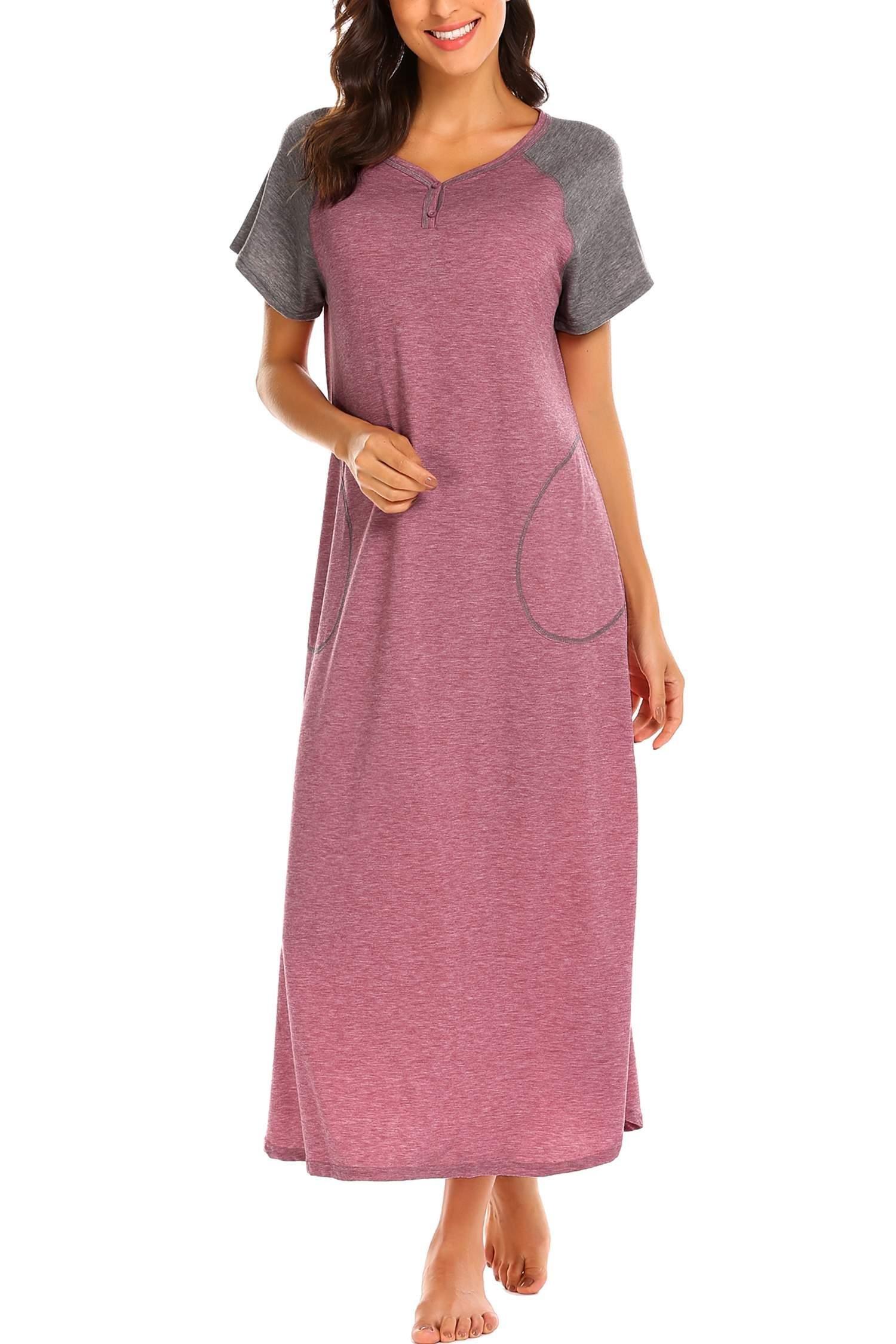 Geschäft wähle authentisch Turnschuhe Skione Nachthemd Damen Nachtkleid warm Lang Herbst Winter Schlafkleid  Langarmshirt dick Schlafshirt
