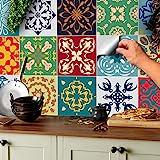 24x Color de la mezcla Lámina impresa 2d PEGATINAS lisas para pegar sobre azulejos cuadrados de 15cm en cocina, baños – resis