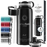 Vattenflaska i Rostfritt Stål, Isolerad ACTIVE FLASK + 3 Drycker Lock och Sugrör, Läckagesäker & BPA-fri   Vakuumisolerade -