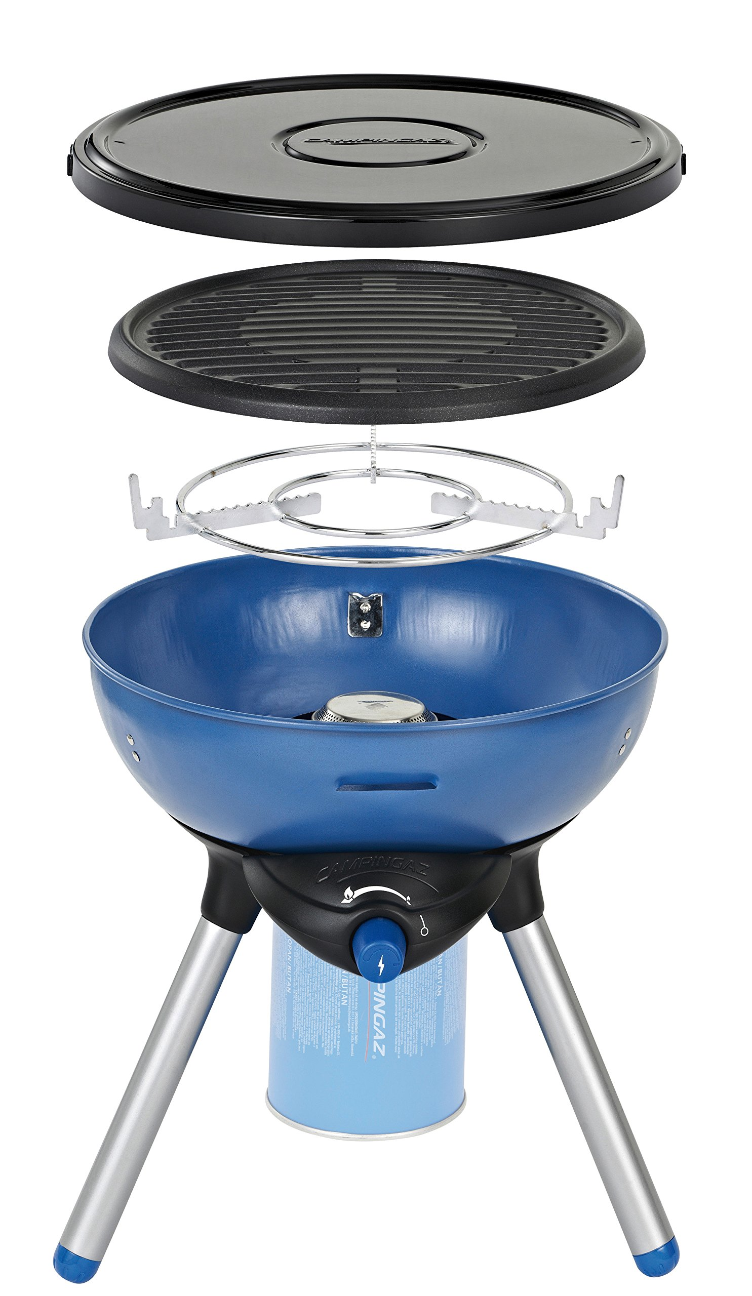 Campingaz Party Grill 200 Camping Stove, All in One portable Camping BBQ, Outdoor Grill & Stove, Small Gas Barbecue 2.000 Watt, Runs on CV 470 Plus Gas Cartridge 1