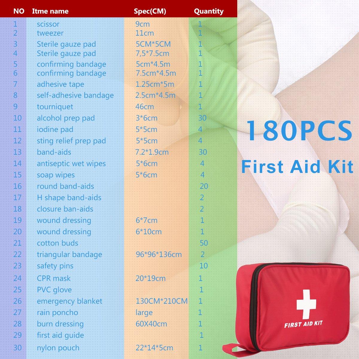 Kit di Primo Soccorso 180 Pezzi Kit di Pronto Soccorso Compatto WEINAS Professi