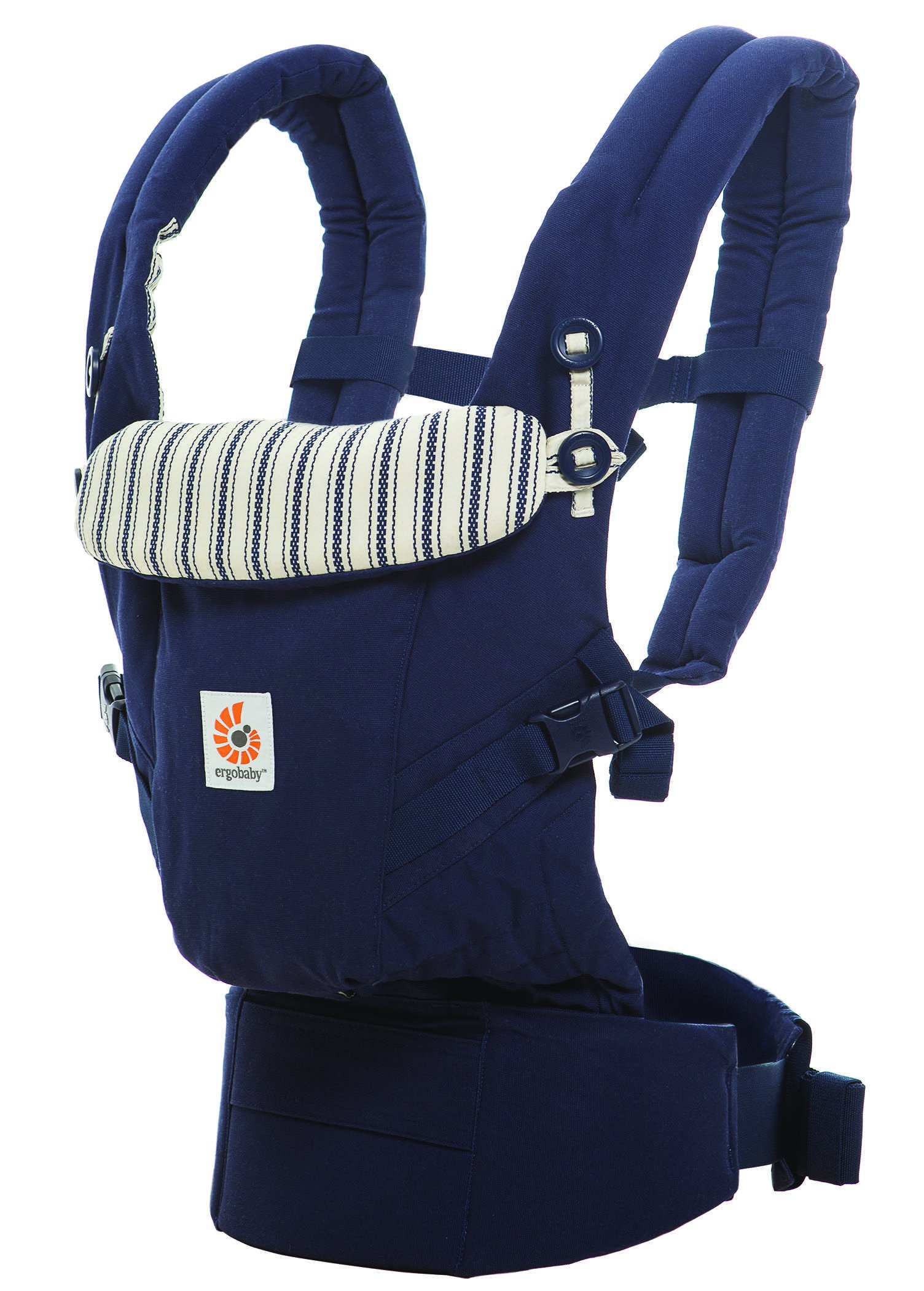Ergobaby Baby Carrier for Newborn to Toddler, Admiral Blue Adapt 3-Position Ergonomic Child Carrier Backpack Ergobaby Carrier for newborns - The ergonomic bucket seat gradually adjusts to your growing baby, to ensure baby is seated in a natural frog-leg position (M-shape position) from newborn to toddler (3.2-20 kg / 7-45 lbs). NEW - Now with lumbar support. Long-wearing comfort for parents with even weight distribution between hips and shoulders. Lumbar support waistbelt that can be adjusted to the height of the carry position for extra, long-wearing comfort. 3 carry positions: front-inward, hip and back. The carrier has a padded, foldable head and neck support and a tuck-away baby hood for sun protection (UPF 50+) and privacy. It is possible to breastfeed in the carrier. 1