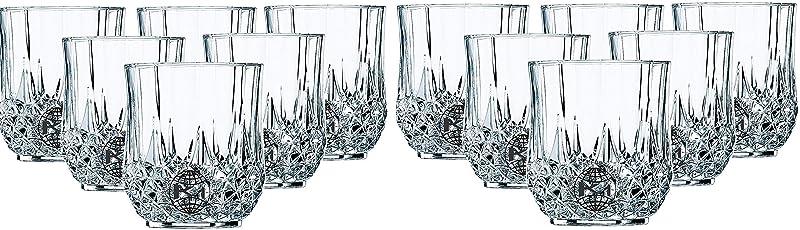 King International 100% Crystal Glass Heavy Base Round Whiskey Glasses,Set of 12,350 ml
