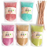Greendoso-Sucre Barbe à Papa 5X160 Gr (Arômes et Colorants Naturels) Fraise-Cola-Pomme-Marshmallow-Vanille + 20 Bâtonnets de