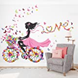 StickMe 'Cycling Girls - Love - Butterfly - Flowers - Decorative - Creative - Colorful - Wall Sticker' -SM741 (Multi Colour,