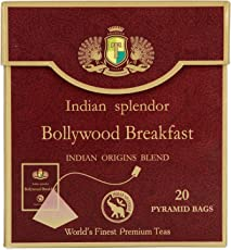 """""""Indian splendor"""" Bollywood Breakfast - Exclusively handpicked, 100% Pure and Natural, Premium Assam Granular and Darjeeling Open Black Leaf Tea Blend, packed in Pyramid Tea Bags, for full tea infusion and convenient use."""
