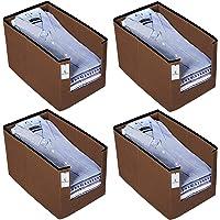 Kuber Industries 4 Piece Non Woven Shirt Stacker Wardrobe Organizer Set, Brown-CTKTC31838