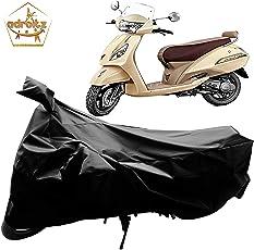 Adroitz Bike Body Cover for TVS Jupiter Classic with Mirror Pocket (Matte Plain Black)