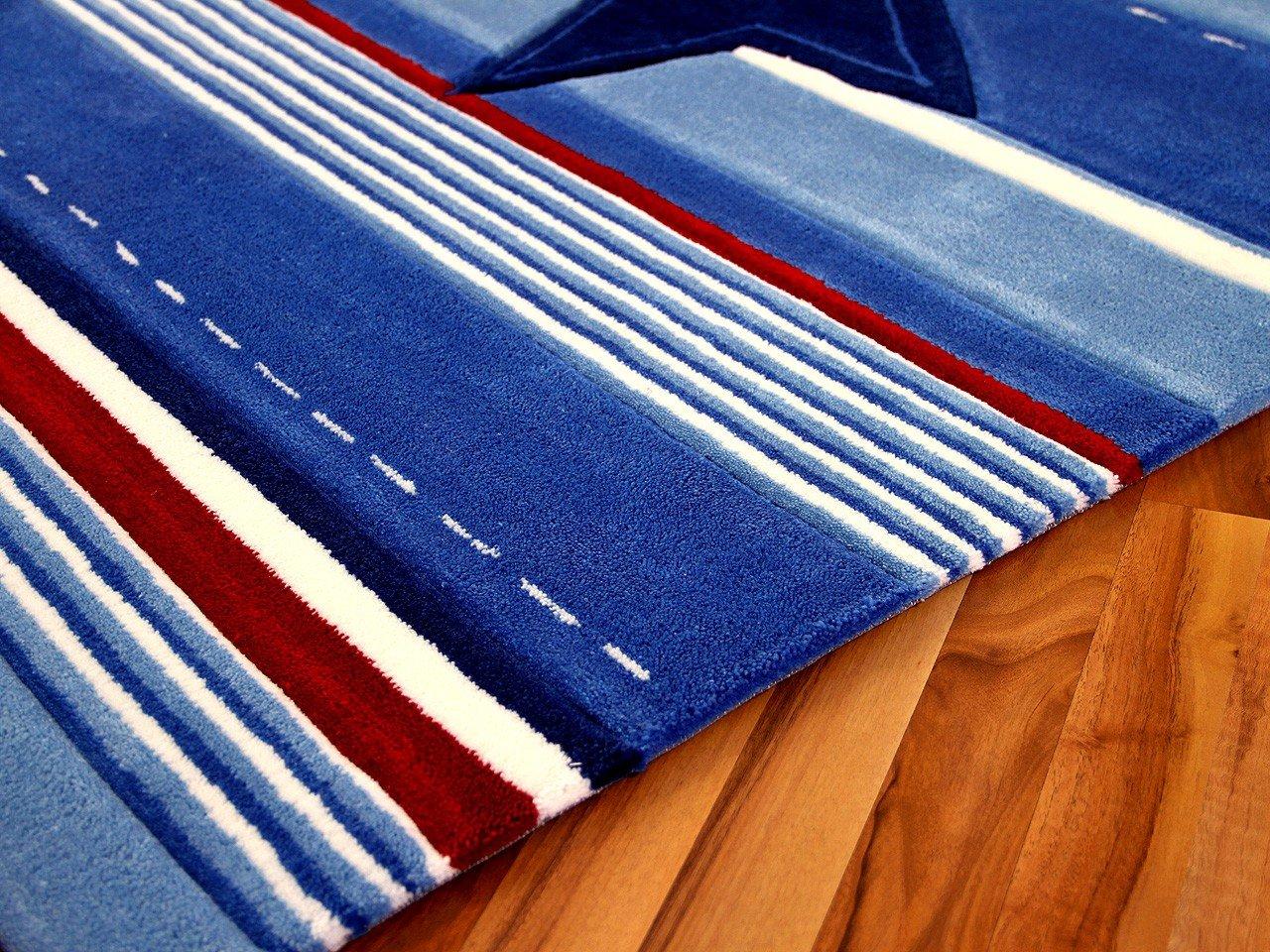 Kinderteppich blau  Amazon.de: Lifestyle Kinderteppich Blau Stern in 3 Größen ...