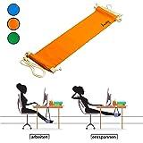 Amazy Fuß Hängematte für extra breite Tische bis 2,00 m – Höhenverstellbare Fußstütze zur Entspannung und Entlastung am Schreibtisch und im Büro (Orange)